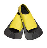 Yellow Flippers for swimming. On white background Stock Image