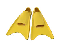 Yellow flippers on white Stock Photo