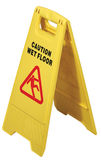 Yellow floor sign with words Royalty Free Stock Images