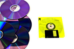Yellow floppy disk and cd Royalty Free Stock Image