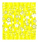Yellow floral background. Green stylized flowers pattern on a yellow background royalty free illustration