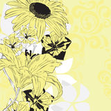 Yellow floral background. Background with chamomile, lily, bells in yellow palette Stock Photo