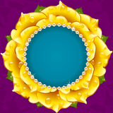 Yellow Floral Circle Frame Stock Images