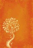 Yellow floral design on orange Stock Photos
