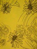 Yellow floral fabric Stock Photo