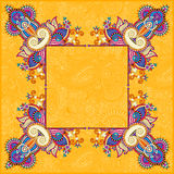 Yellow floral frame, ethnic ukrainian ornament Stock Photo