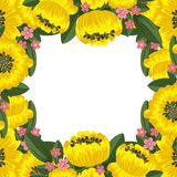 Yellow floral frame Royalty Free Stock Images