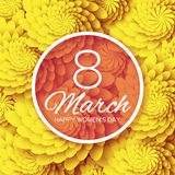 Yellow Floral Greeting card - International Happy Women's Day - 8 March holiday background with paper cut Frame Flowers. Royalty Free Stock Photography