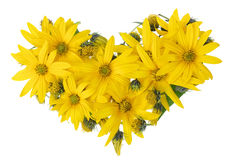 Yellow floral heart Stock Images