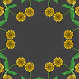Yellow floral pattern. Yellow flowers in a circle on a grey background Stock Photography