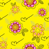 Yellow floral seamless background Stock Photography