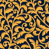 Yellow floral seamless pattern in baroque style Stock Photos