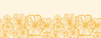 Yellow floral shapes horizontal seamless pattern Royalty Free Stock Image
