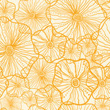 Yellow floral shapes seamless pattern background Royalty Free Stock Image