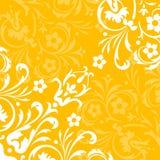 Yellow flourish background. A yellow background design with a white flourish royalty free illustration