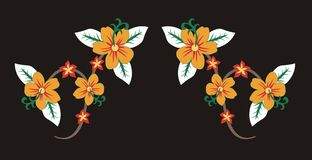Yellow flower. Framework consisting of flowers on a black background graphic design vector illustration