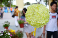 Yellow Flower. Colorful yellow color in Grand opening at Asiatique in Bangkok,Thailand Stock Photos