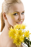Yellow flower beauty portrait Royalty Free Stock Photos