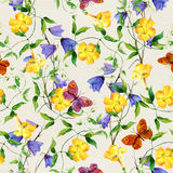 Yellow flower, bluebell, butterflies. Repeating floral pattern Stock Image