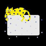 Yellow Flower Cat. Yellow cartoon cat laying on black background (with space for text Stock Images