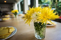 Yellow flower and dish on table Royalty Free Stock Photo