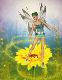 Yellow flower fairy Stock Photography