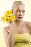 Yellow flower girl Royalty Free Stock Photos