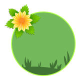Yellow flower and green leaves spring banner Stock Image