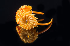 Yellow flower hair band handmade Stock Images
