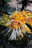 Yellow flower with incense on the rock. In Temple, Thailand Stock Image