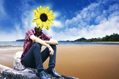 Yellow flower lamp on landscapes background 2 Royalty Free Stock Photo