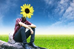 Yellow flower lamp on landscapes background Stock Image