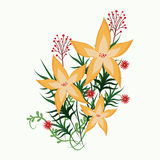 Yellow flower leaf red flower. Vector illustration eps 10 vector illustration