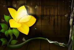 Yellow Flower with a Light Bulb Stock Image