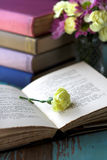 Yellow flower on open book stock image