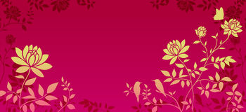 Yellow flower pattern in red background Royalty Free Stock Image