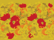 Yellow flower pattern with red poppies Stock Photo