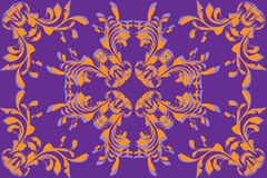 Yellow flower pattern on violet background Stock Photography