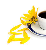 Yellow flower, petals and fragment of a cup about coffee, isolat Stock Photo