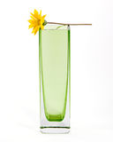 Yellow flower in a simple green glass vase, with c Royalty Free Stock Photography