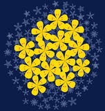 Yellow flower on snow. Yellow flowers that only blossom in winter vector illustration