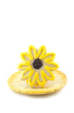 Yellow Flower Sugar Cookie On White Vertical Background Stock Photos