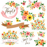 Yellow flower vector set Royalty Free Stock Images