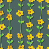 Yellow flower watercolor seamless pattern Stock Photo