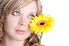 Yellow Flower Woman. Beautiful blond yellow flower woman stock images