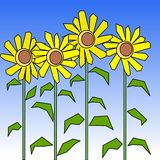 Yellow flowers. Illustration with four yellow flowers Royalty Free Stock Photo