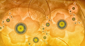 Yellow flowers. The bright yellow abstract background with stylized flowers Stock Images