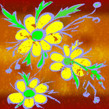 Yellow flowers on the abstract orange background vector illustration Royalty Free Stock Photography