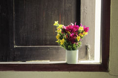Yellow flowers background home. Stock Photo