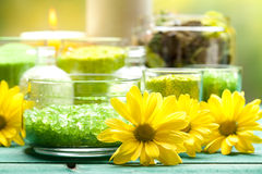Yellow flowers and bath salt Royalty Free Stock Images